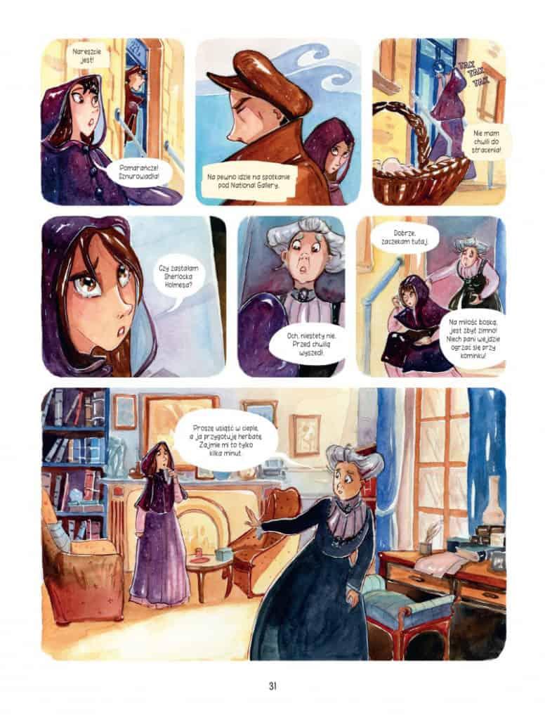 Plansza komiksu Śledztwa Enoli Holmes. Sprawa lady Alistair. Tom 2